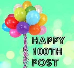 100thpost with balloons
